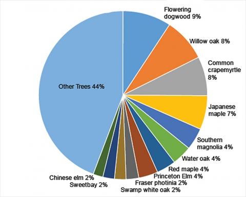 Tech Green species distribution pie chart